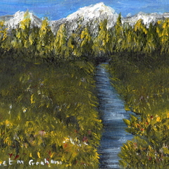 Spring in the Mountains ACEO, Original Miniature Acrylic Landscape painting