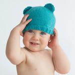 baby beanie aqua blue / bear ears / boy girl newborn - 4 months / unisex