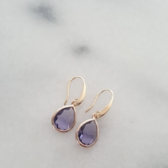Handcrafted Rose Gold Plated Sterling Silver Purple Austrian Crystal Earrings