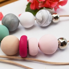 Polymer Clay Pastels Necklace, Large Beads, Handmade