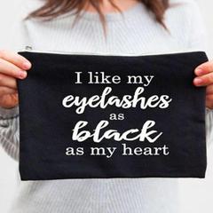 I Like My Eyelashes As Black As My Heart , Makeup Bag , Black Zipper Pouch