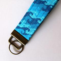Unisex Wrist Key Fob / Keyring - Blue Waves, Brass Hardware