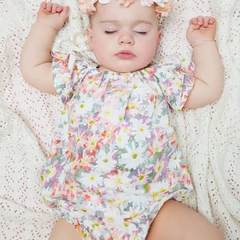 Daisy Floral Easter baby girl romper