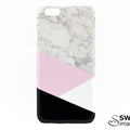 Geometric Black White & Pink Split Marble - for iPhone & Samsung Galaxy phones