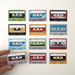 12 cassette tape stickers, *write your own labels*