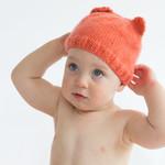 baby beanie watermelon coral pink / bear ears / girl 4-12 months