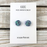 Handcrafted polymer clay stud earrings- blue turquoise floral