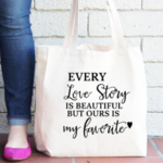 Quote Tote Bag , Wedding Gift , Bride Tote Bag , Anniversary Gift