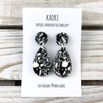 Handcrafted polymer clay stud dangle earrings in monochrome abstract black white