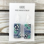 Handcrafted polymer clay earrings with sterling silver hooks- blue floral