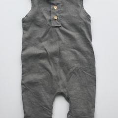 Grey Linen Henley Romper
