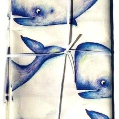 1 Yard 100% Cotton Whale Print fabric