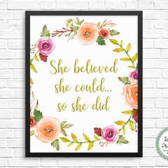 She Believed She Could Printable Wall Art Motivational Print