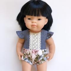 Grey Lace Romper - 38cm Doll - Ally Doll Co.