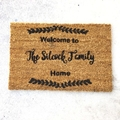 Personalised Coir Door Mat, Welcome, Housewarming, Birthday gift, Name & Date