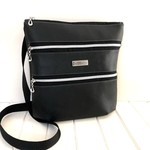 Cross Body Bag in Soft Black Faux Leather with Triple Zippers