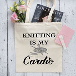 Knitting Is My Cardio - Gym Bag - Canvas Tote Bag - Printed Tote Bag - Cotton