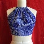 Blue and White Summer festival halter neck tie top. Size S/M. AU 8 to 12. Vegan