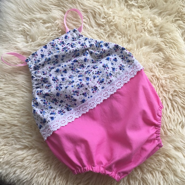 1ec49a2e231b Pink and blue floral bubble romper playsuit with lace