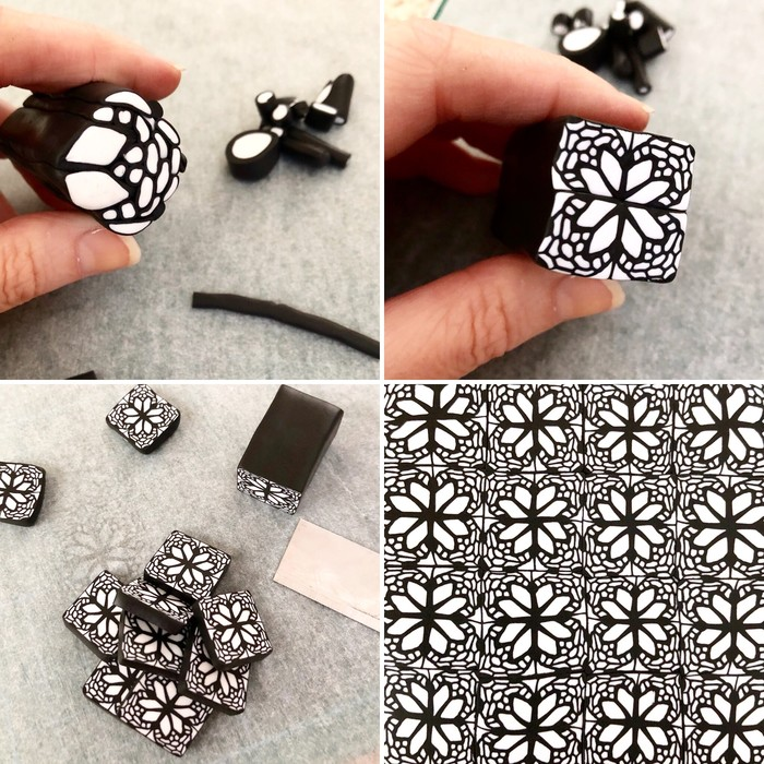 Handcrafted polymer clay stud dangle earrings in monochrome black ...