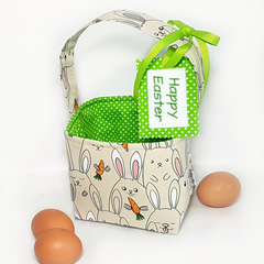 EASTER BASKET with Embroidered Tag  (Bunnies with Carrots - apple green lining