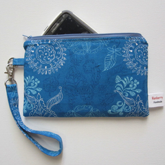 Wristlet- blue and yellow Custom Order- Courtney
