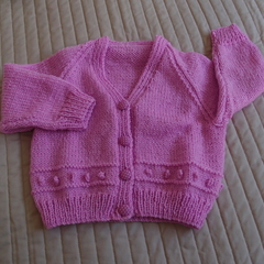 SIZE 3 yrs : Hand knitted cardigan : acrylic, pink, girl