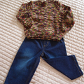 SIZE 3 yrs: Hand knitted jumper: acrylic,  unisex, washable