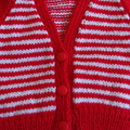 Size - 12 months: Unisex hand knitted cardigan in red and white by CuddleCorner