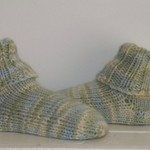 Baby Sock Booties, Pale Green / Cream,  Wool, 0-6 mths, Hand Knit