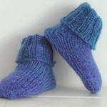 Baby Sock Booties, Blue Purple Teal,  Wool, 0-6 mths, Hand Knit