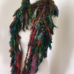 Earthy woodland shades Recycled silk hand knitted boho tattered rag scarf