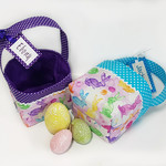 EASTER BASKET with Embroidered Tag (Water colour bunnies - purple trim)