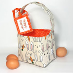 EASTER BASKET with Embroidered Tag  (Bunnies with Carrots - orange lining