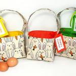 EASTER BASKET with Embroidered Tag  (Bunnies with Carrots - yellow lining