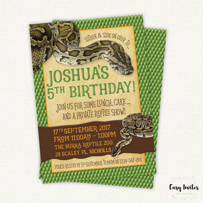 Snake Birthday Invitation Printable Snake Invite Reptile Party