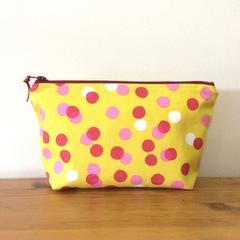 Zipper pouch - dots print yellow