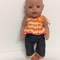 Dolls Capri pants and top to fit Babyborn and Cabbage Patch dolls