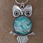 Owl acrylic pour art pendant