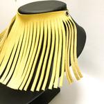 Yellow Leather tassel choker, leather collar