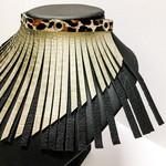 Silver Leather tassel choker with animal print
