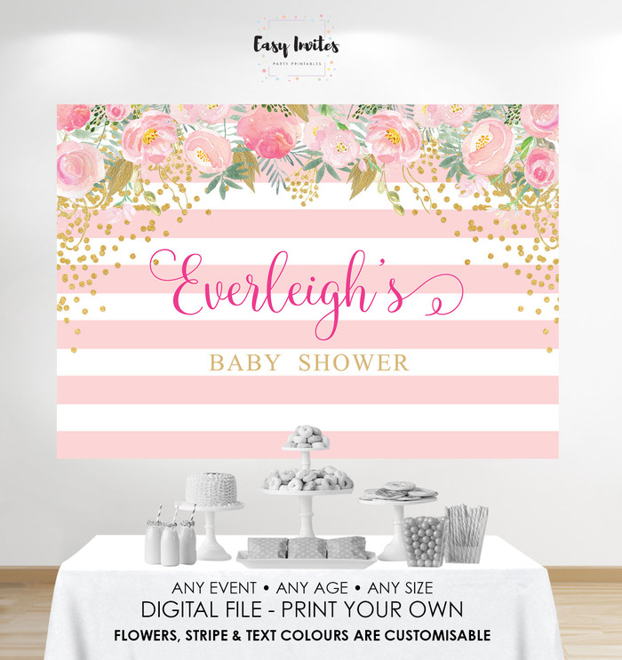 Print Your Own Baby Shower Backdrop Diy Poster Pink Gold Floral