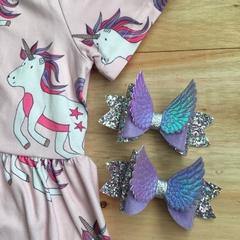 Glitter purple large Angel wings hair bow clip
