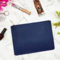 Navy Blue Monogram Leather Purse - Blue Personalised Leather Bag - Monogram