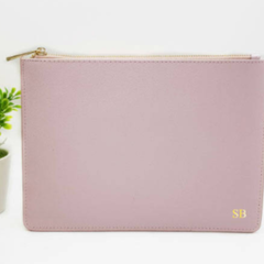 Pink Initials Leather Purse - Light Pink Personalised Leather Clutch - Monogram