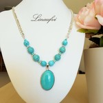 SALE 20% Necklace - Long - Turquoise Blue Howlite - Gemstone -Oval Pendant -N046