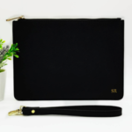 Black Monogrammed Leather Clutch - Black Personalised Leather Bag