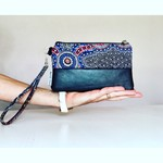 Indigenous Leather Clutch - Wild Bush Flowers