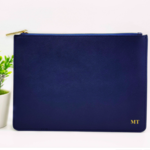 Navy Blue Monogram Leather Purse - Blue Personalised Leather Bag - Monogram
