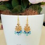 Earring - Chandelier - Gold - Swarovski - Turquoise - Blue - Stunning - E043